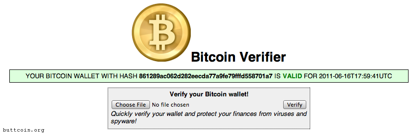 Bitcoin Verifier will verify the integrity of your wallet