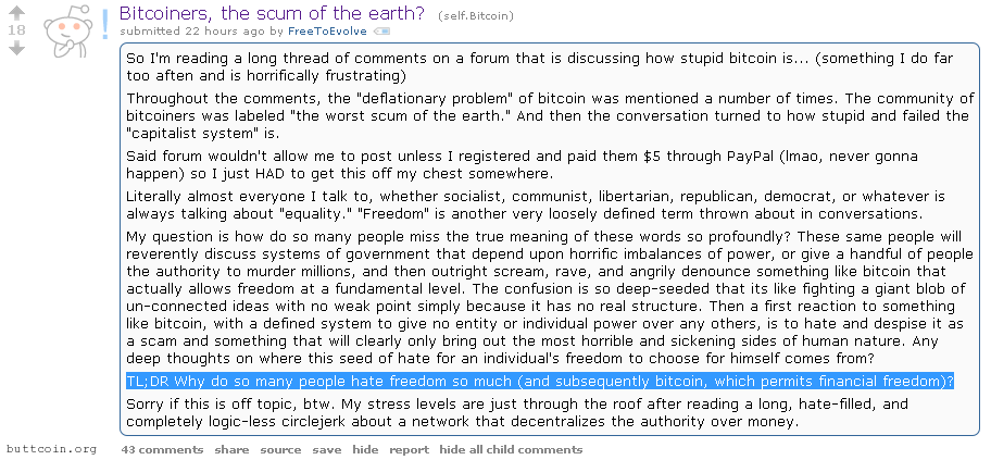 Bitcoin: Why do you hate freedom?