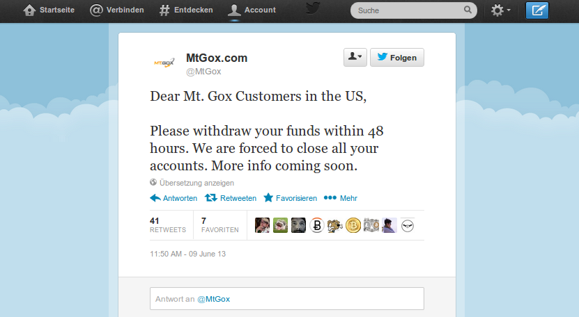 Mt Gox closing all US accounts in 48 hours.